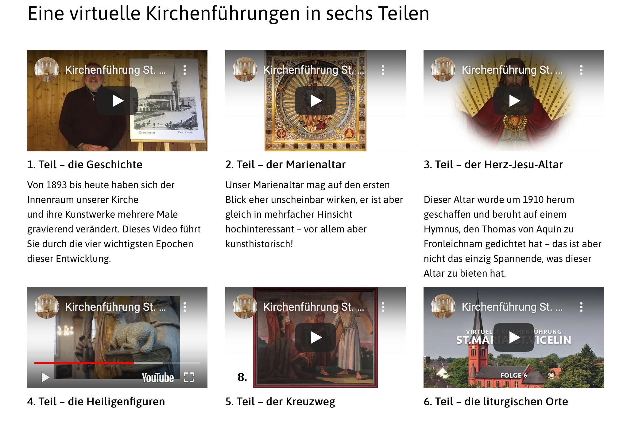 Kirchenführungen mit Youtubevideos